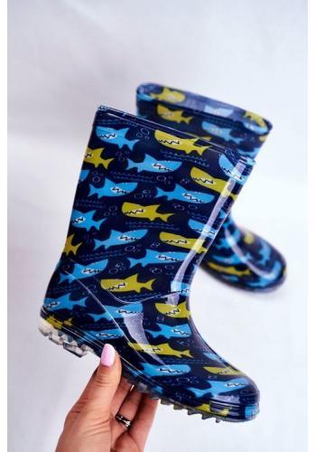 Detské gumáky pre chlapcov v modrej farbe s motívom žralokov