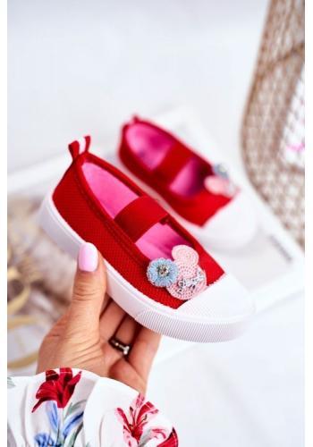 Červené nazúvacie tenisky s ozdobou pre dievčatá