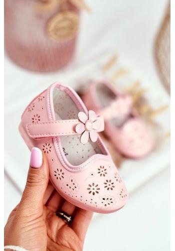 Dievčenské kvietkované balerínky ružovej farby
