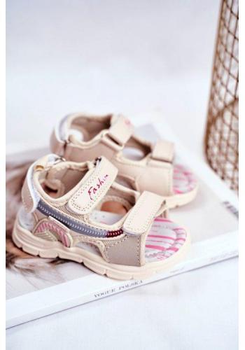 Dievčenské béžové sandále na suchý zips