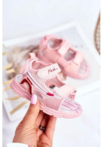 Ružové sandále na suchý zips pre dievčatá