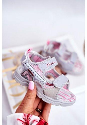 Sandále pre dievčatá na suchý zips v sivej farbe