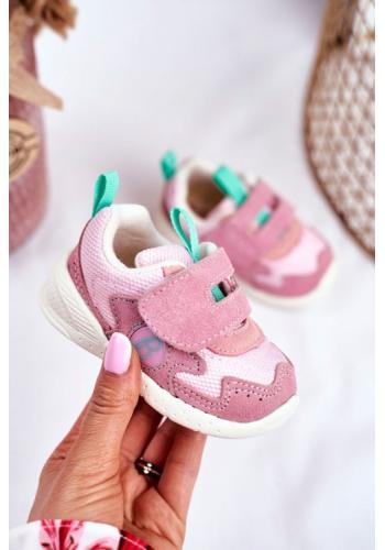 Ružové dievčenské tenisky na suchý zips