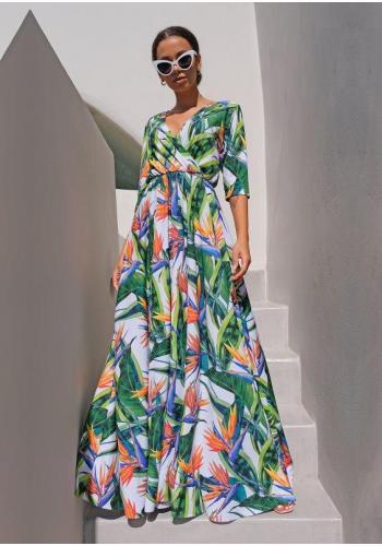 Letné dámske šaty s tropickým motívom pre dámy
