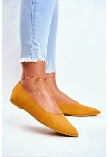 Semišové klasické balerínky pre dámy v žltej farbe