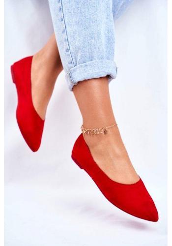 Štýlové červené semišové balerínky pre dámy