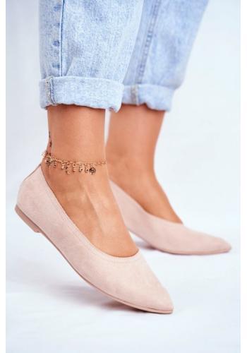 Púdrové semišové balerínky pre dámy