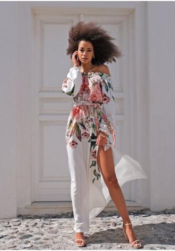 Letné dlhé šaty s rázporkom v španielskom štýle a kvetinovým motívom