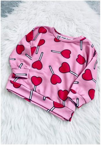 Ružová mikina s potlačou pre dievčatá - LOLLIPOP