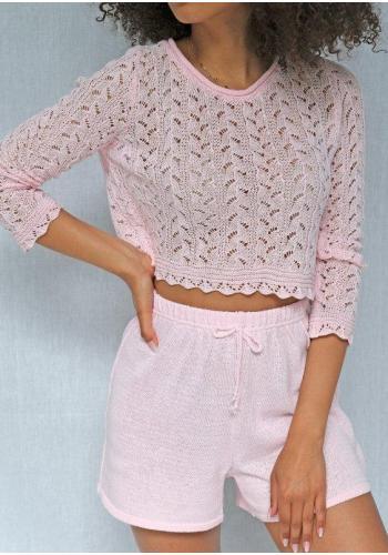 Dámske pletené kraťasy v ružovej farbe