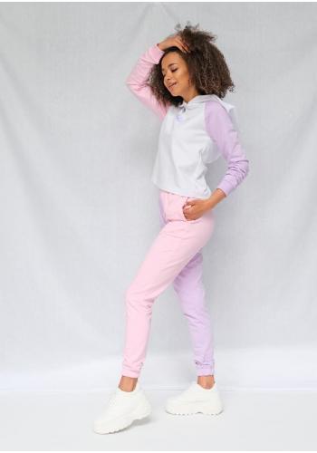 Bavlnené tepláky v kombinovaných farbách ružovej a fialovej
