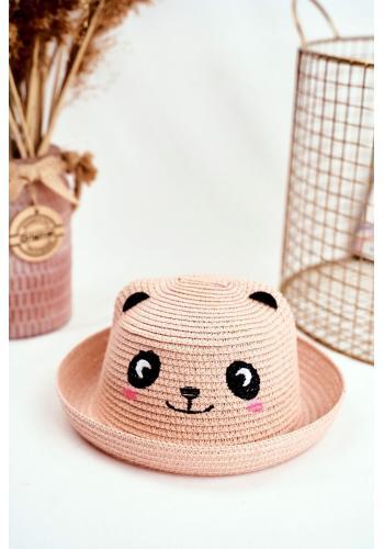 Plážový detský klobúk ružovej farby s pandou