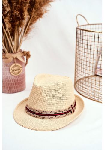 Béžový módny klobúk s farebným pásikom pre dámy