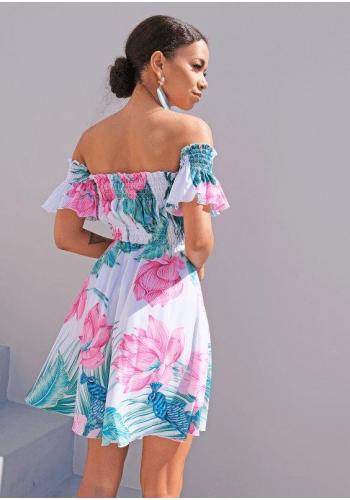 Krátke letné šaty v španielskom štýle s motívom kvetov a pávov