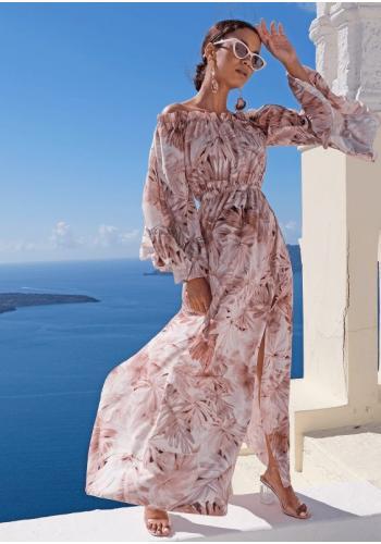 Dámske letné maxi šaty s motívom lístia v béžovej farbe