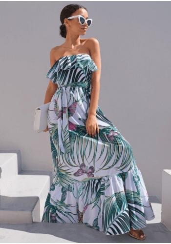 Maxi šaty s letným vzorom s odhalenými plecami