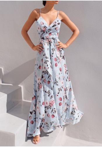 Dlhé obálkove šaty na ramienka s kvetinovým motívom