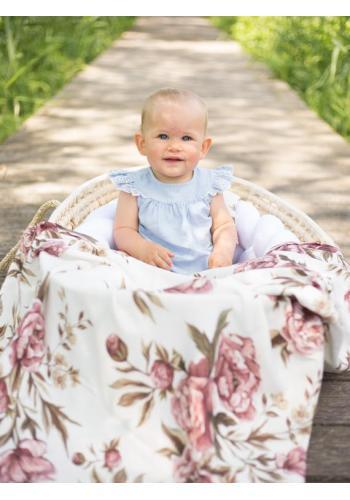 Letná bambusová deka pre bábätka - Vintage pivónie (vankúš grátis)