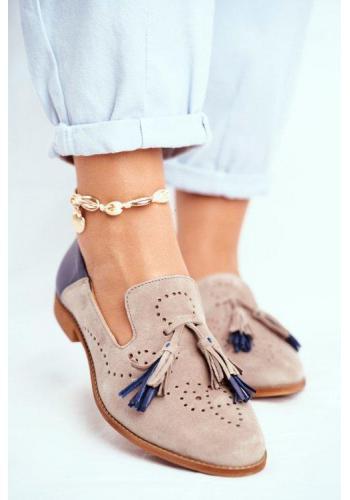 Módne semišové mokasíny pre dámy so strapcami béžovo-modrej farby