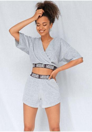 Velúrové dámske šortky s vreckami sivej farby