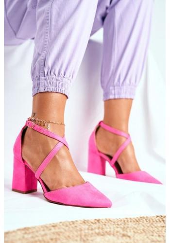 Ružové špicaté lodičky na širokom podpätku pre dámy