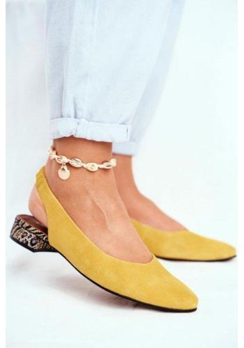 Žlté semišové baleríny so zdobením podpätkom pre dámy