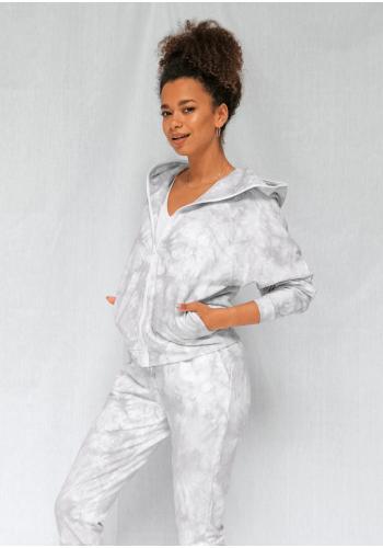 Mikina na zips s kapucňou so zafarbeným efektom šedej farby