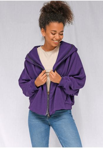 Voľná dámska mikina s veľkou kapucňou fialovej farby