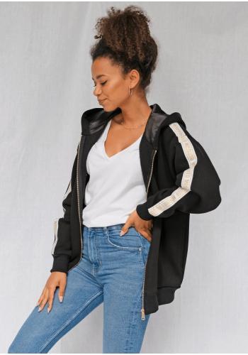 Dlhá dámska mikina so zipsom a kapucňou s ozdobnými pruhmi na rukávoch