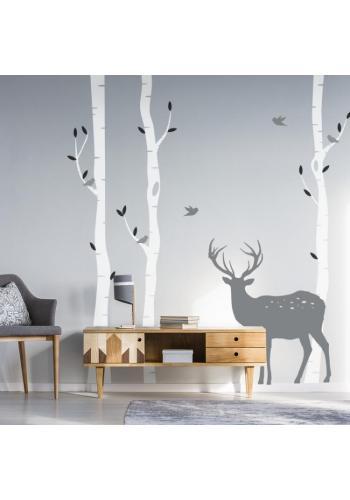 Nástenná sada nálepiek s brezami a jeleňom