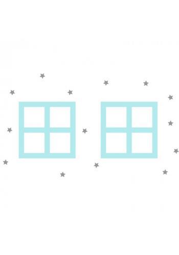 Pastelová sada nálepiek v podobe okien domu