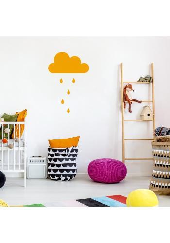 Nálepka s motívom oblaku s kvapkami v pastelových farbách