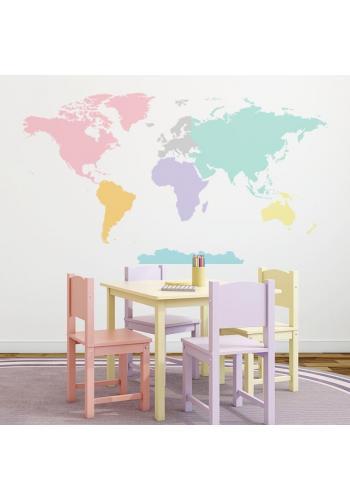 Nálepka v podobe mapy sveta v pastelových farbách
