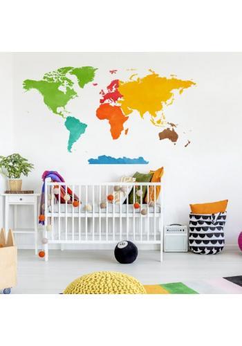 Farebná nálepka v podobe mapy sveta