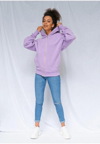 Dlhá mikina fialovej farby so zipsom a kapucňou s ozdobnými pruhmi na rukávoch