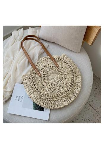Svetlá okrúhla prútená kabelka pre dámy