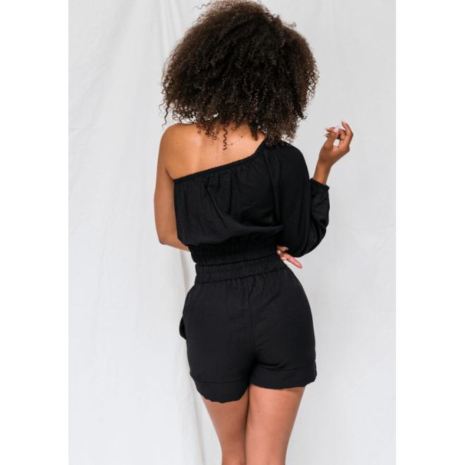 Krátke módne kraťasy s vysokým pásom v čiernej farbe