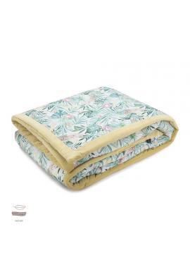 Žltá zamatová teplá deka s tropickým motívom