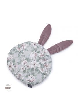 Staroružový zamatový vankúš s ušami s vintage kvetmi