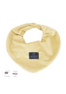 Žltý obojstranný zamatový šál na suchý zips