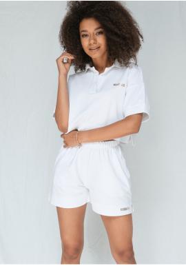 Letné bavlnené šortky s vreckami v bielej farbe