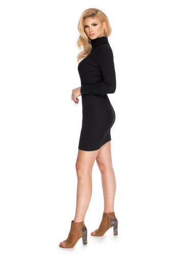 Dámske mini šaty s dlhým rukávom a rolákom v čiernej farbe