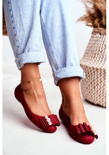 Štýlové dámske gumové balerínky v červenej farbe