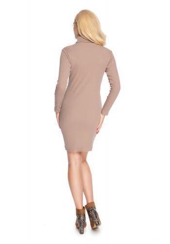 Dámske mini šaty s dlhým rukávom a rolákom v cappuccinovej farbe