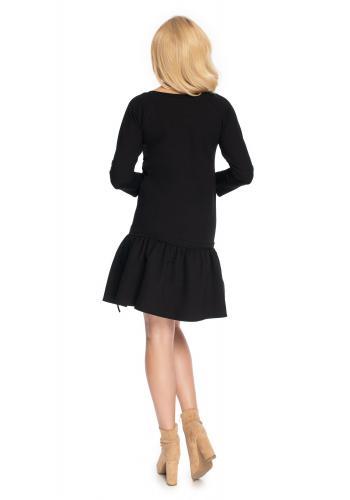 Čierne mini šaty s dlhým rukávom a volánmi na sukni