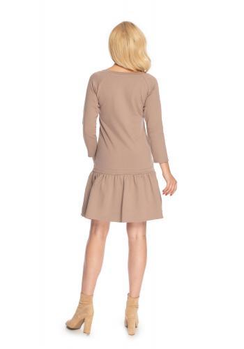 Cappuccinové mini šaty s dlhým rukávom a volánmi na sukni pre dámy