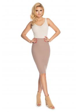 Štýlová ceruzková sukňa v cappusccinovej farbe pre dámy