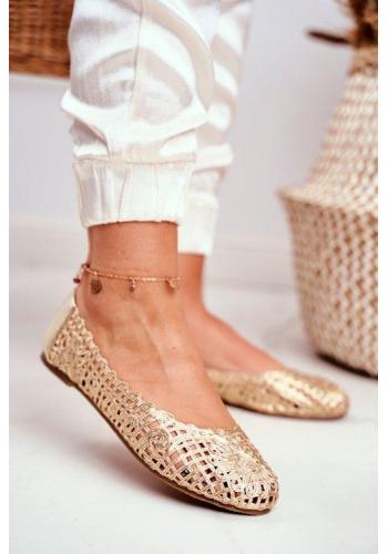 Zlaté ažúrové balerínky pre dámy