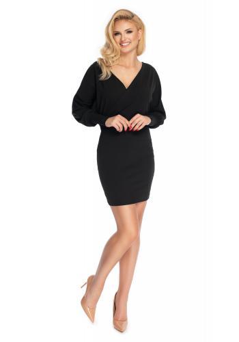 Módne mini šaty s obálkovým výstrihom v čiernej farbe