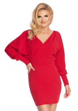 Červené mini šaty s V výstrihom pre dámy